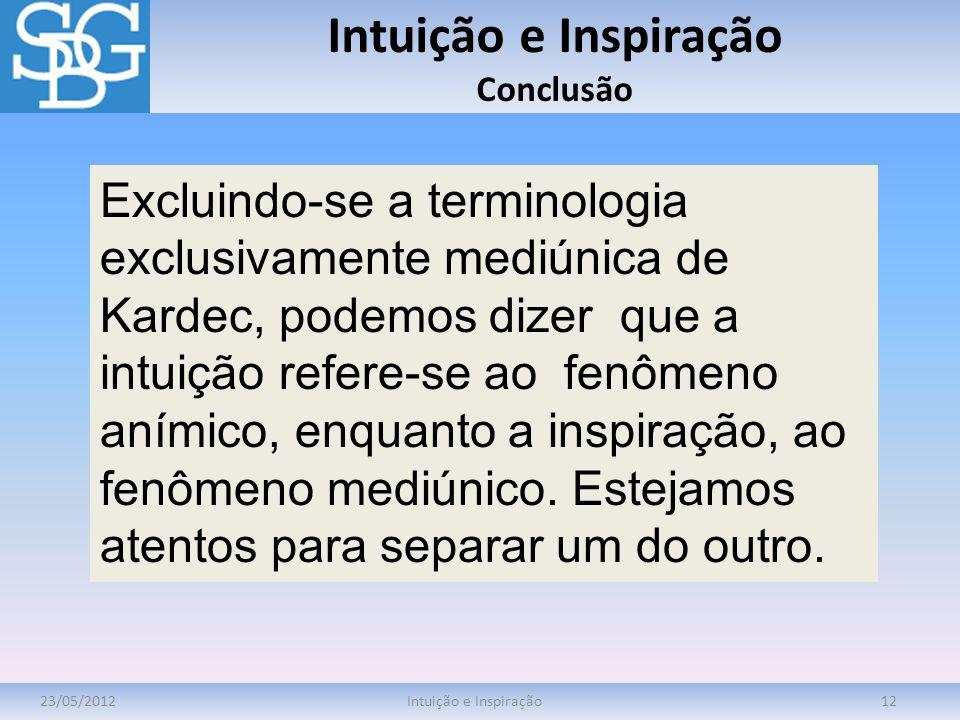Intuição e Inspiração Conclusão 23/05/2012Intuição e Inspiração12 Excluindo-se a terminologia exclusivamente mediúnica de Kardec, podemos dizer que a