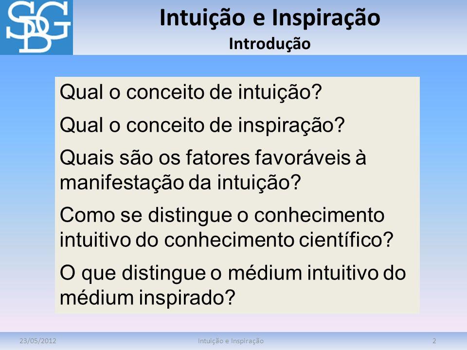 Intuição e Inspiração Introdução 23/05/2012Intuição e Inspiração2 Qual o conceito de intuição? Qual o conceito de inspiração? Quais são os fatores fav
