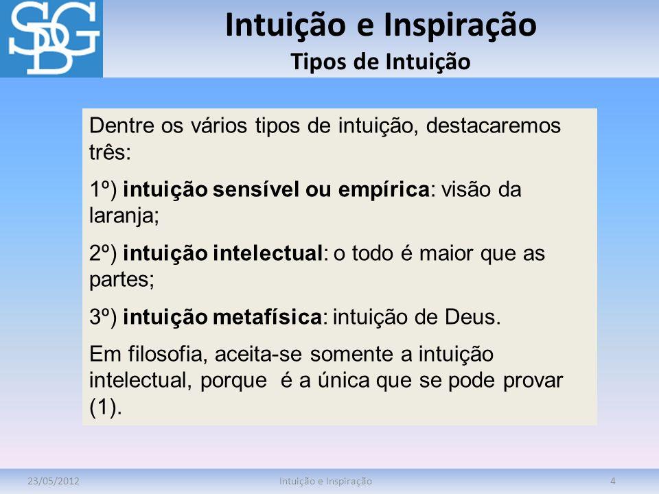 Intuição e Inspiração Tipos de Intuição 23/05/2012Intuição e Inspiração4 Dentre os vários tipos de intuição, destacaremos três: 1º) intuição sensível