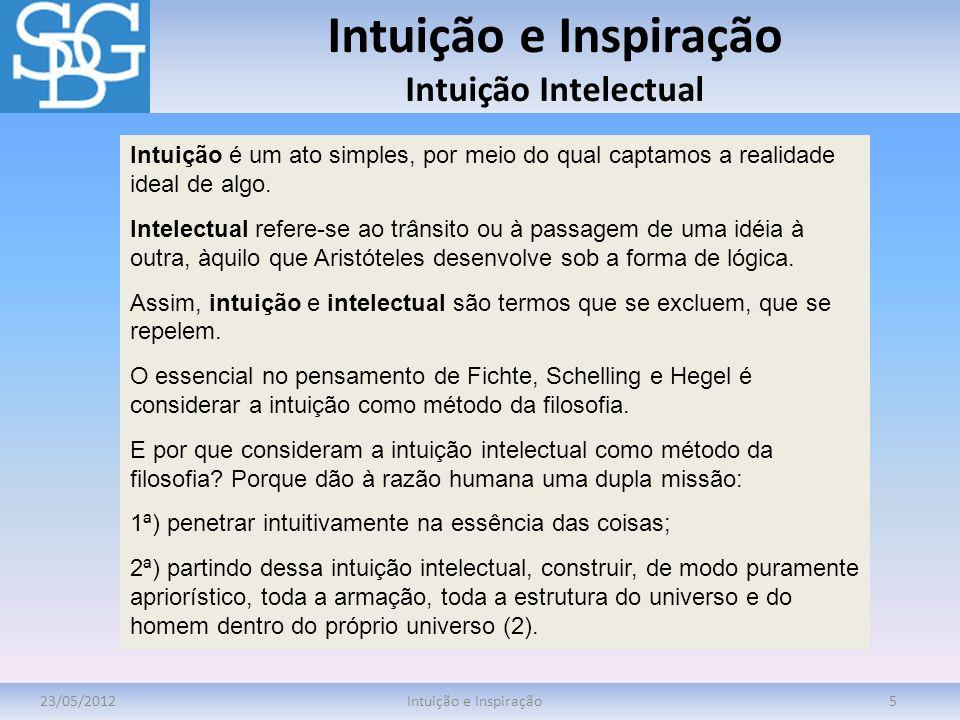 Intuição e Inspiração Intuição Intelectual 23/05/2012Intuição e Inspiração5 Intuição é um ato simples, por meio do qual captamos a realidade ideal de