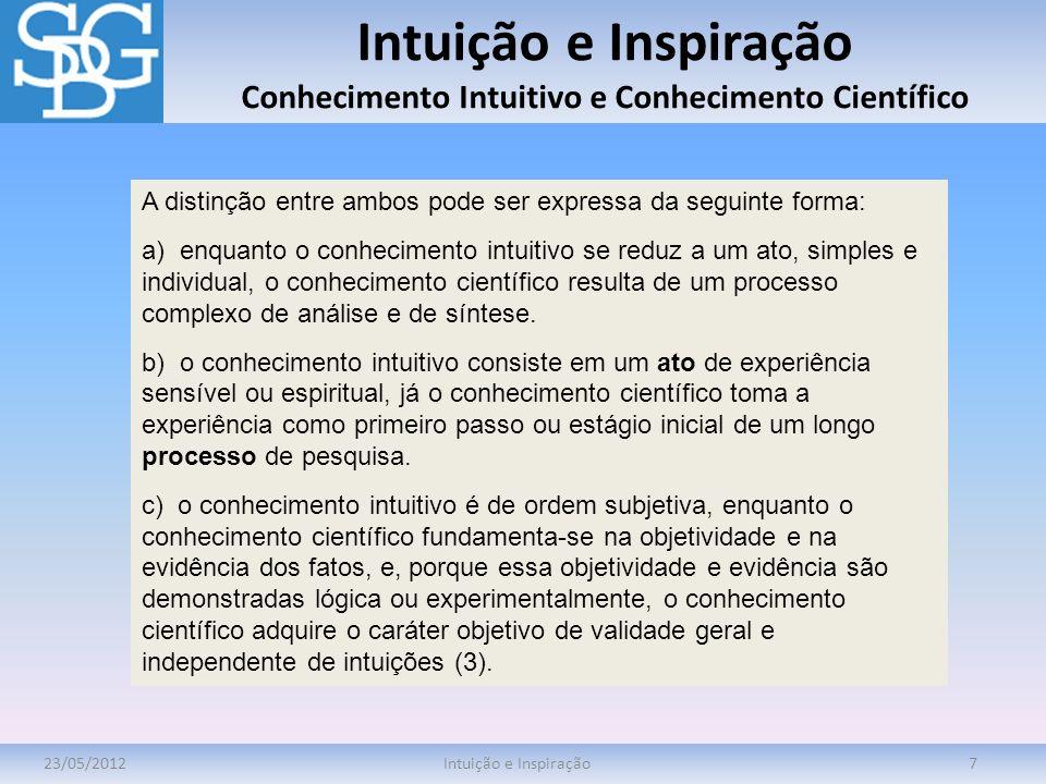 Intuição e Inspiração Conhecimento Intuitivo e Conhecimento Científico 23/05/2012Intuição e Inspiração7 A distinção entre ambos pode ser expressa da s