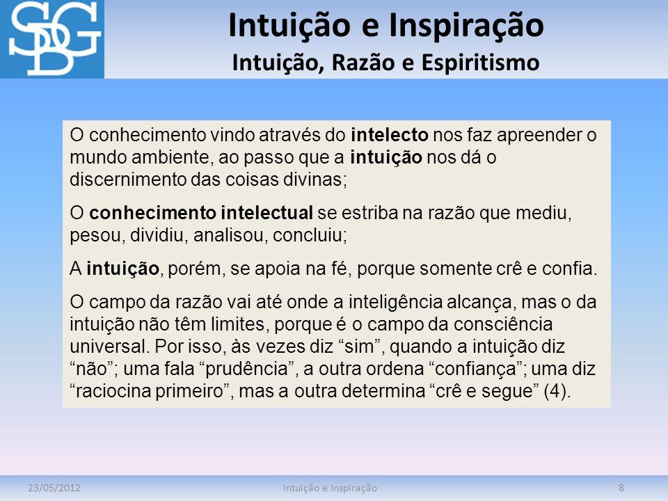Intuição e Inspiração Intuição, Razão e Espiritismo 23/05/2012Intuição e Inspiração8 O conhecimento vindo através do intelecto nos faz apreender o mun