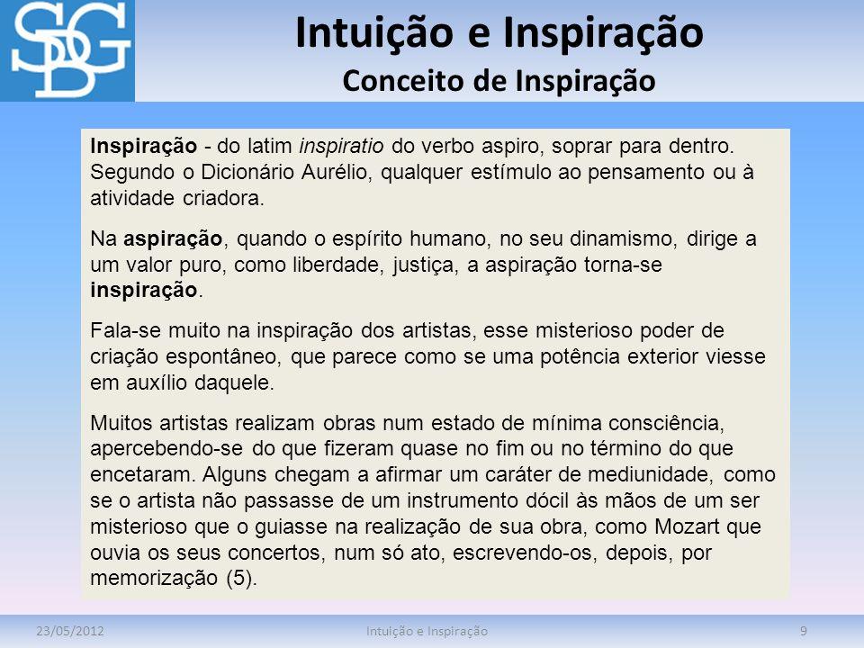 Intuição e Inspiração Conceito de Inspiração 23/05/2012Intuição e Inspiração9 Inspiração - do latim inspiratio do verbo aspiro, soprar para dentro. Se