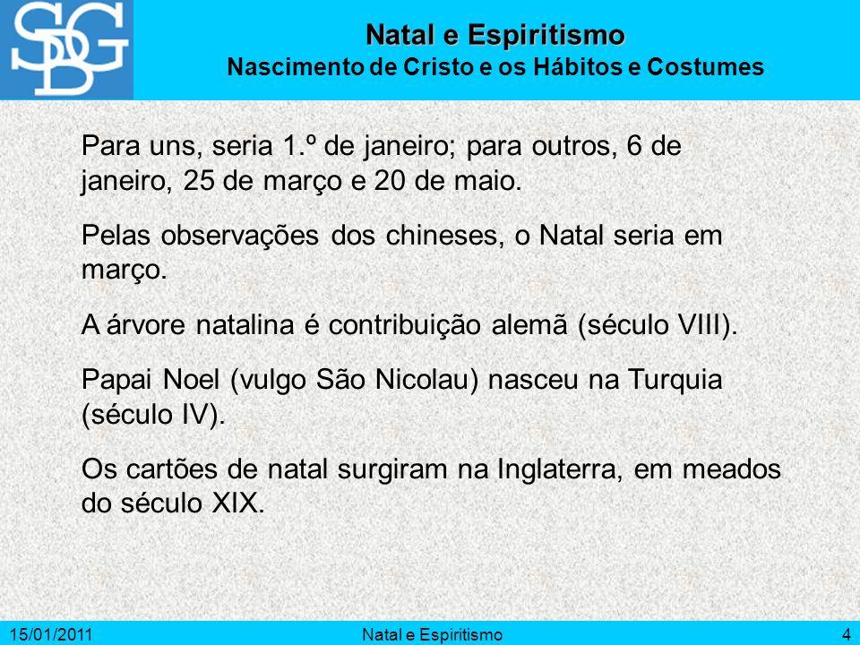15/01/2011Natal e Espiritismo5 manjedoura Conta-se que Jesus nascera numa manjedoura, rodeado de animais.