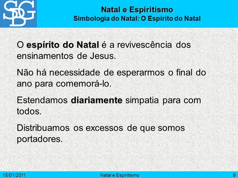 15/01/2011Natal e Espiritismo9 espírito do Natal O espírito do Natal é a revivescência dos ensinamentos de Jesus. Não há necessidade de esperarmos o f