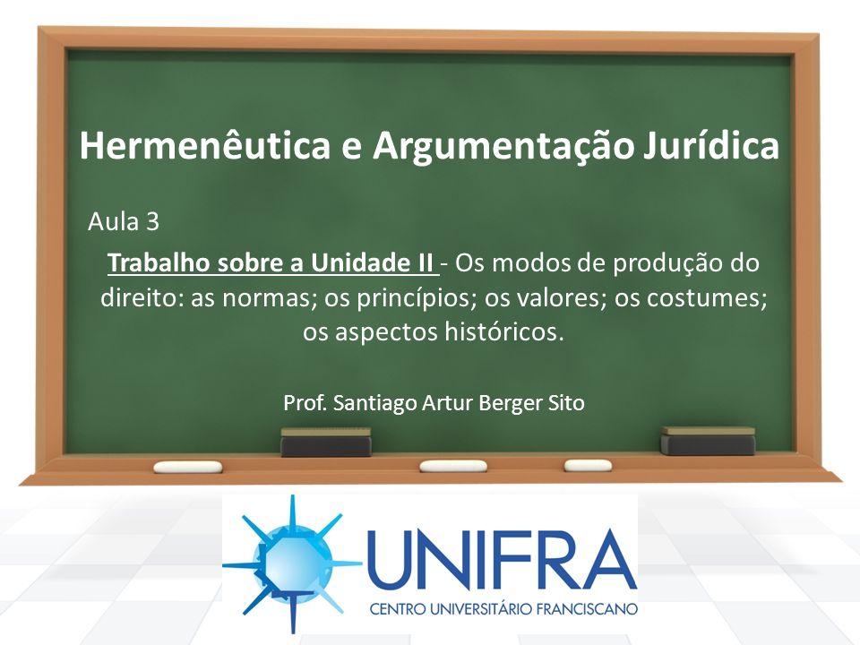 Hermenêutica e Argumentação Jurídica Aula 3 Trabalho sobre a Unidade II - Os modos de produção do direito: as normas; os princípios; os valores; os co