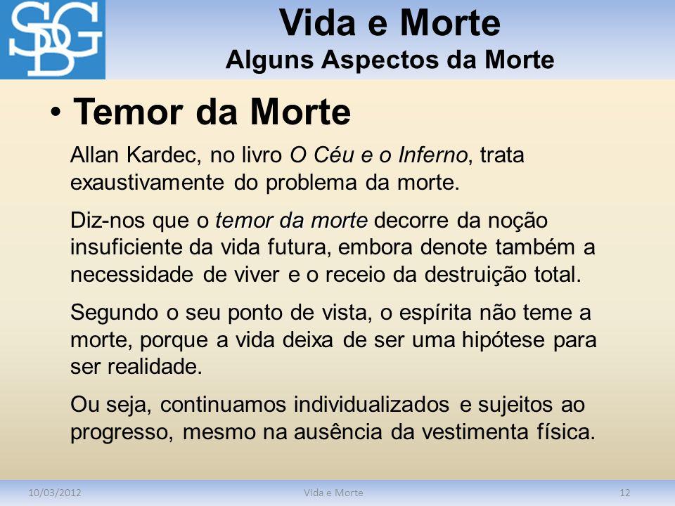 Vida e Morte Alguns Aspectos da Morte 10/03/2012Vida e Morte12 Allan Kardec, no livro O Céu e o Inferno, trata exaustivamente do problema da morte. te