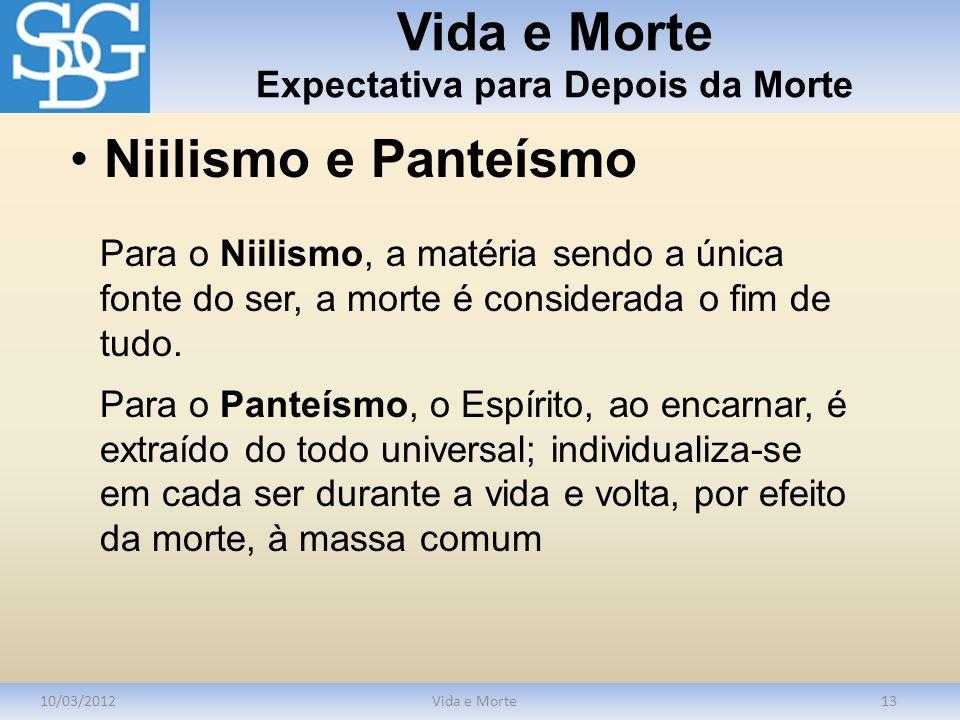 Vida e Morte Expectativa para Depois da Morte 10/03/2012Vida e Morte13 Para o Niilismo, a matéria sendo a única fonte do ser, a morte é considerada o