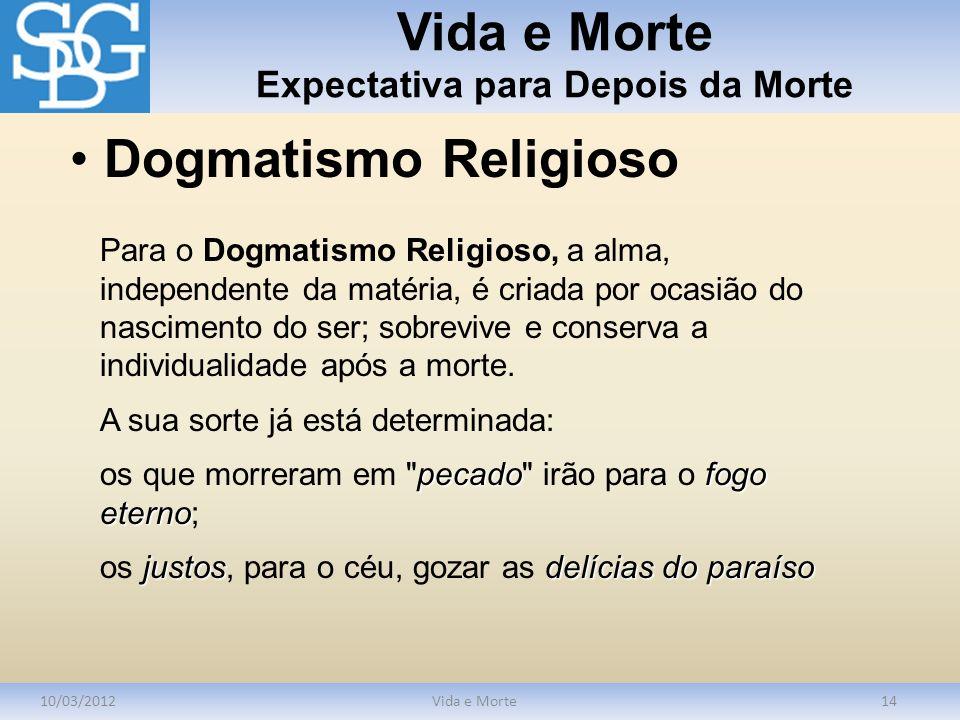 Vida e Morte Expectativa para Depois da Morte 10/03/2012Vida e Morte14 Para o Dogmatismo Religioso, a alma, independente da matéria, é criada por ocas