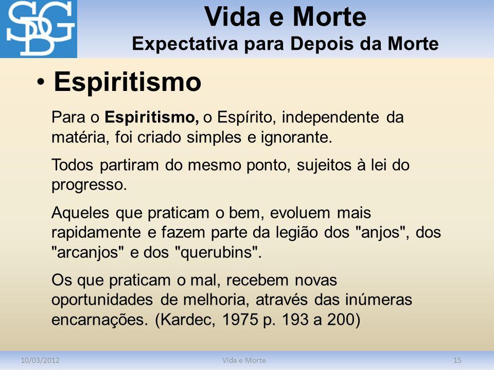 Vida e Morte Expectativa para Depois da Morte 10/03/2012Vida e Morte15 Para o Espiritismo, o Espírito, independente da matéria, foi criado simples e i