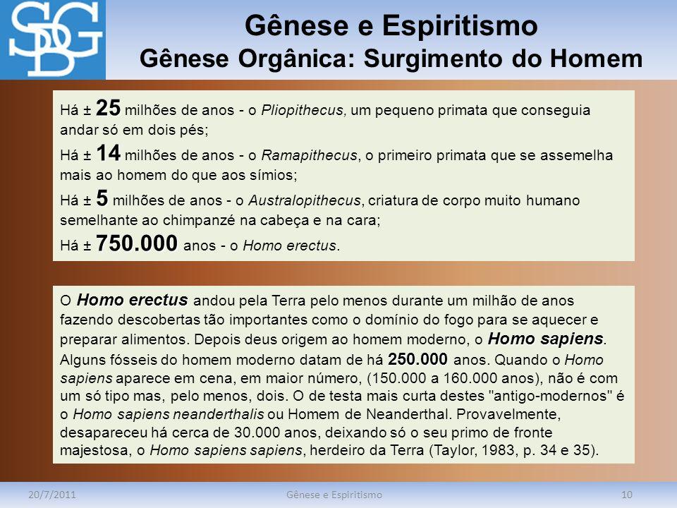 Gênese e Espiritismo Gênese Orgânica: Surgimento do Homem 20/7/2011Gênese e Espiritismo10 25 Há ± 25 milhões de anos - o Pliopithecus, um pequeno prim