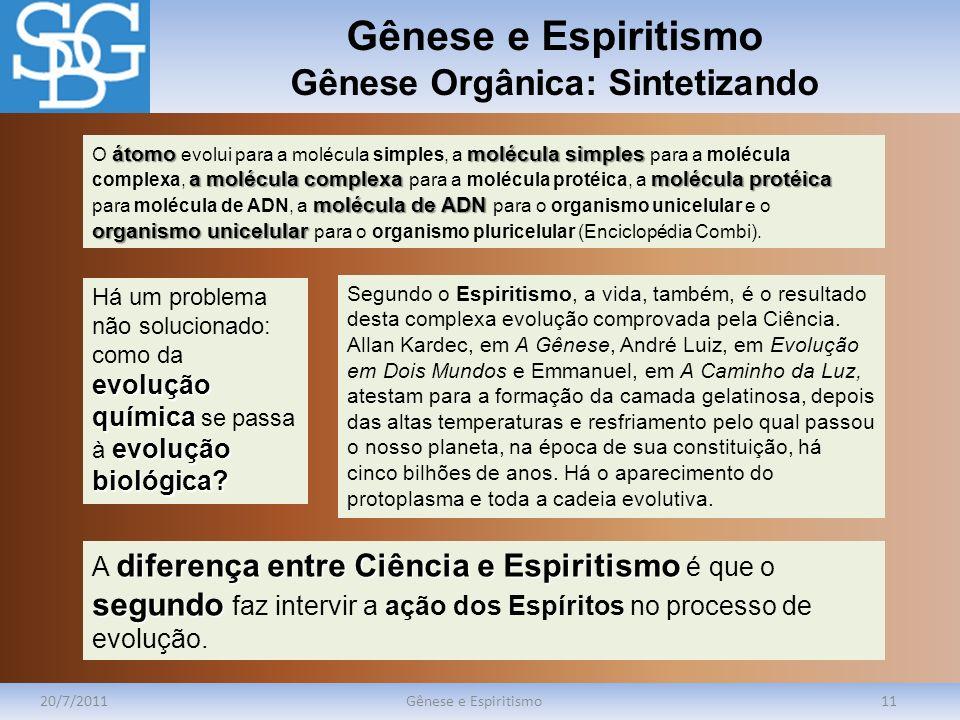 Gênese e Espiritismo Gênese Orgânica: Sintetizando 20/7/2011Gênese e Espiritismo11 átomomoléculasimples a molécula complexa molécula protéica molécula
