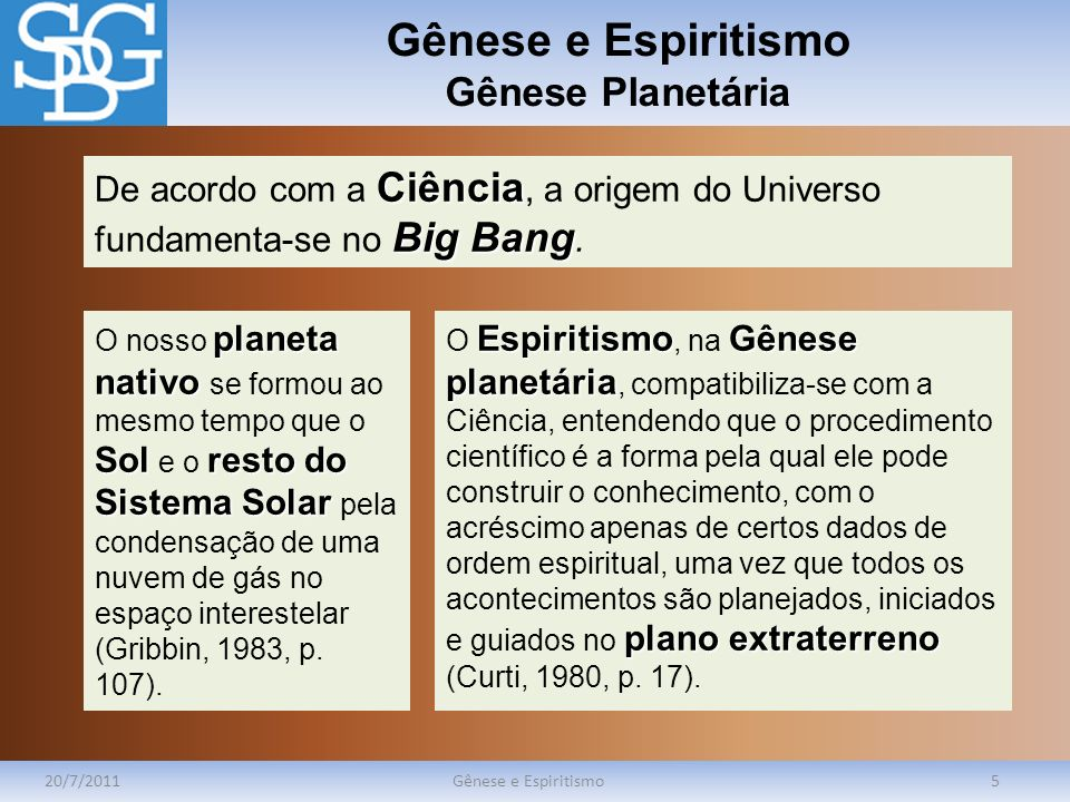 Gênese e Espiritismo Gênese Planetária 20/7/2011Gênese e Espiritismo5 Ciência Big Bang De acordo com a Ciência, a origem do Universo fundamenta-se no