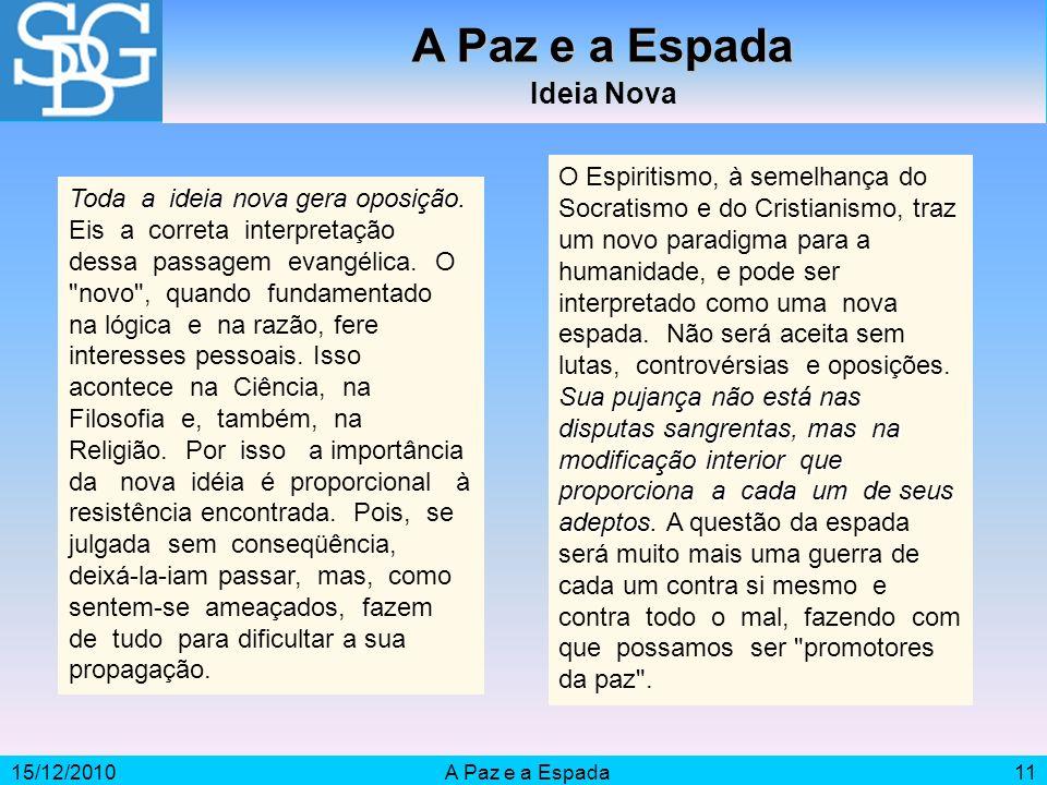 15/12/2010A Paz e a Espada11 A Paz e a Espada Ideia Nova Toda a ideia nova gera oposição.