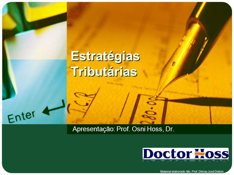 Estratégias Tributárias Apresentação: Prof. Osni Hoss, Dr. Material elaborado: Ms. Prof. Dimas José Detoni