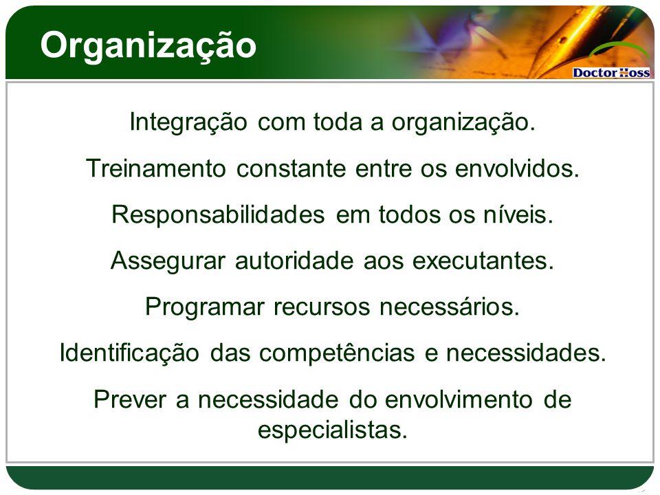 Organização Integração com toda a organização. Treinamento constante entre os envolvidos. Responsabilidades em todos os níveis. Assegurar autoridade a
