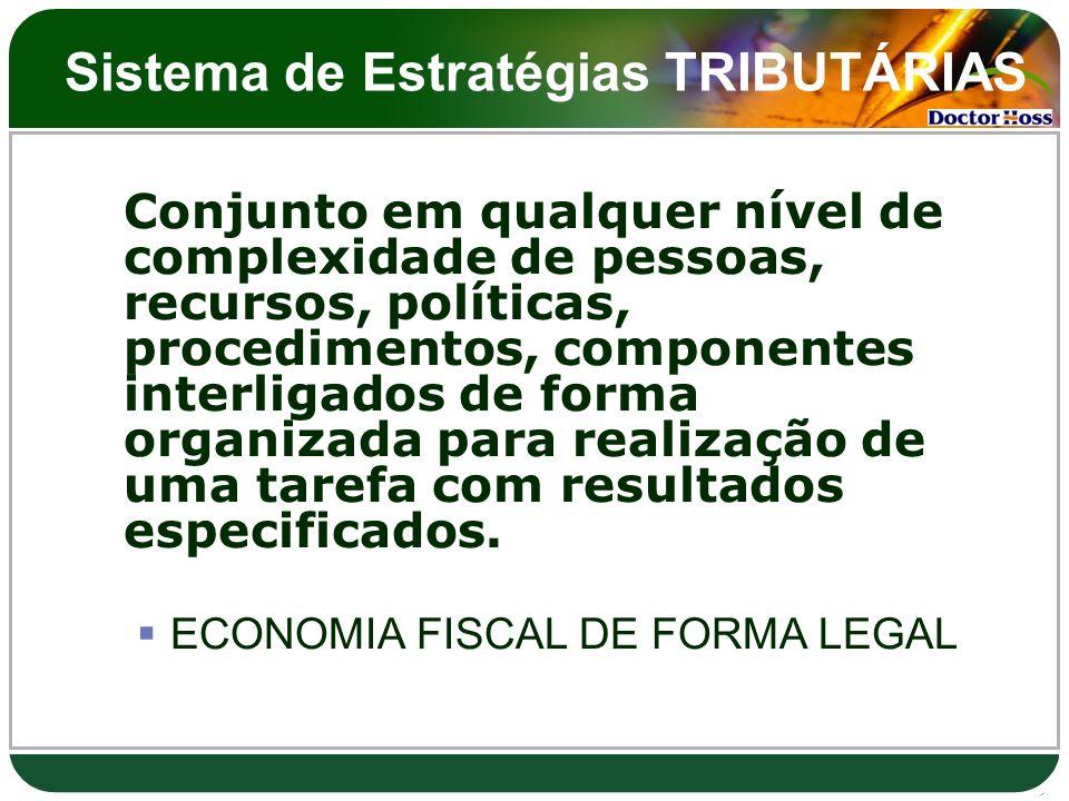 Sistema de Estratégias TRIBUTÁRIAS Conjunto em qualquer nível de complexidade de pessoas, recursos, políticas, procedimentos, componentes interligados