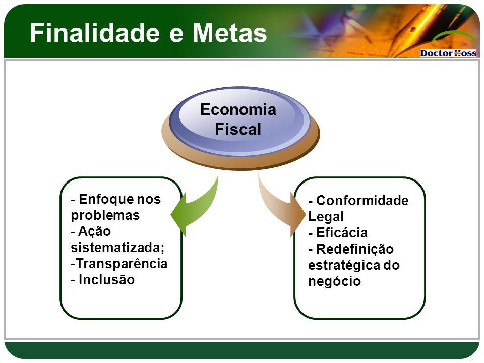 Finalidade e Metas - Enfoque nos problemas - Ação sistematizada; -Transparência - Inclusão Economia Fiscal - Conformidade Legal - Eficácia - Redefiniç