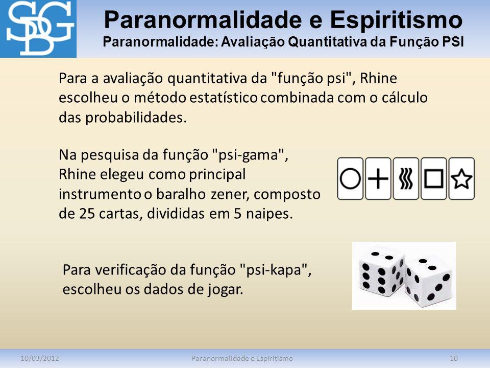 Paranormalidade e Espiritismo Paranormalidade: Avaliação Quantitativa da Função PSI 10/03/2012Paranormalidade e Espiritismo10 Para a avaliação quantit