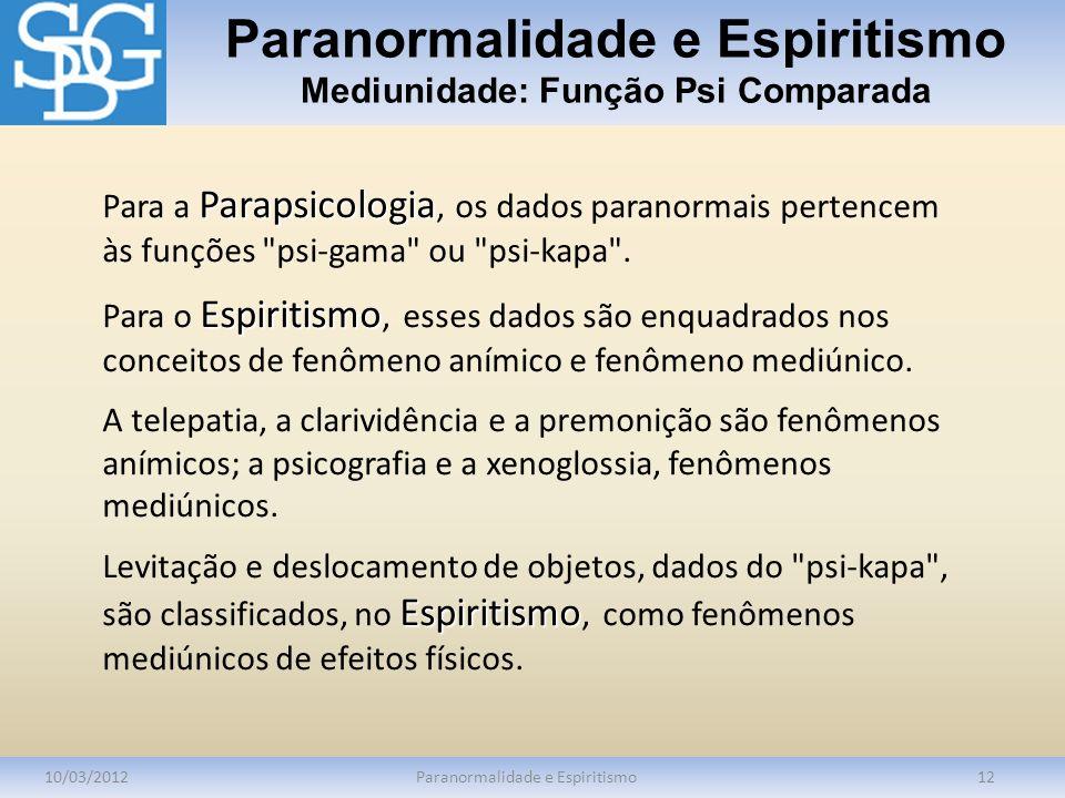 Paranormalidade e Espiritismo Mediunidade: Função Psi Comparada 10/03/2012Paranormalidade e Espiritismo12 Parapsicologia Para a Parapsicologia, os dad