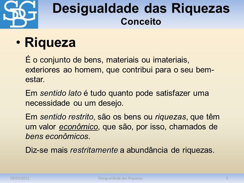 Desigualdade das Riquezas Conceito 28/03/2012Desigualdade das Riquezas3 É o conjunto de bens, materiais ou imateriais, exteriores ao homem, que contri