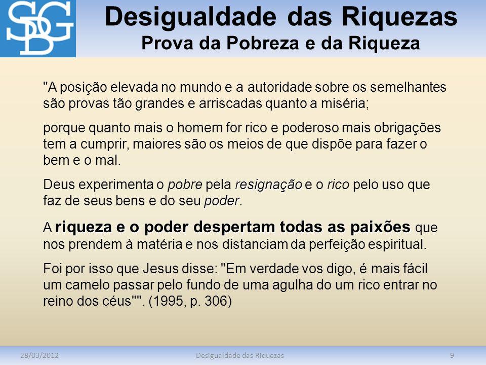 Desigualdade das Riquezas Prova da Pobreza e da Riqueza 28/03/2012Desigualdade das Riquezas9