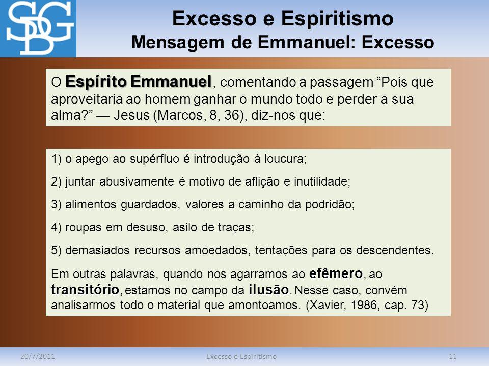 Excesso e Espiritismo Mensagem de Emmanuel: Excesso 20/7/2011Excesso e Espiritismo11 Espírito Emmanuel O Espírito Emmanuel, comentando a passagem Pois