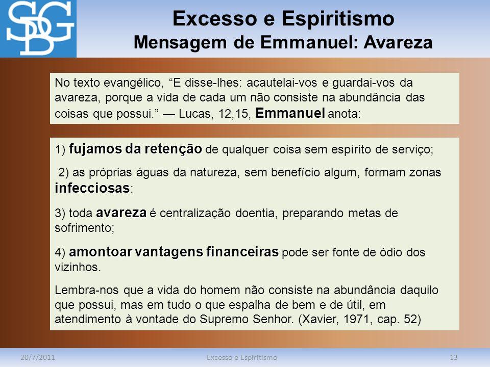 Excesso e Espiritismo Mensagem de Emmanuel: Avareza 20/7/2011Excesso e Espiritismo13 Emmanuel No texto evangélico, E disse-lhes: acautelai-vos e guard