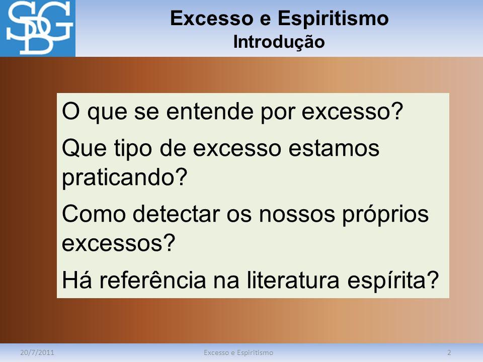 Excesso e Espiritismo Introdução 20/7/2011Excesso e Espiritismo2 O que se entende por excesso? Que tipo de excesso estamos praticando? Como detectar o