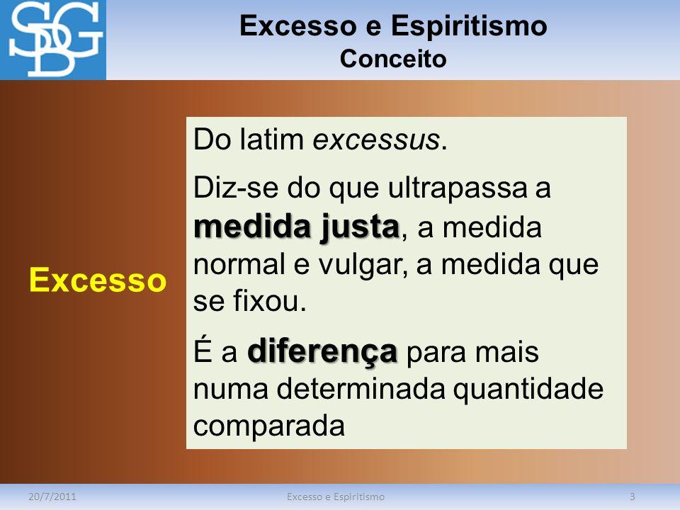 Excesso e Espiritismo Conceito 20/7/2011Excesso e Espiritismo3 Do latim excessus. medida justa Diz-se do que ultrapassa a medida justa, a medida norma