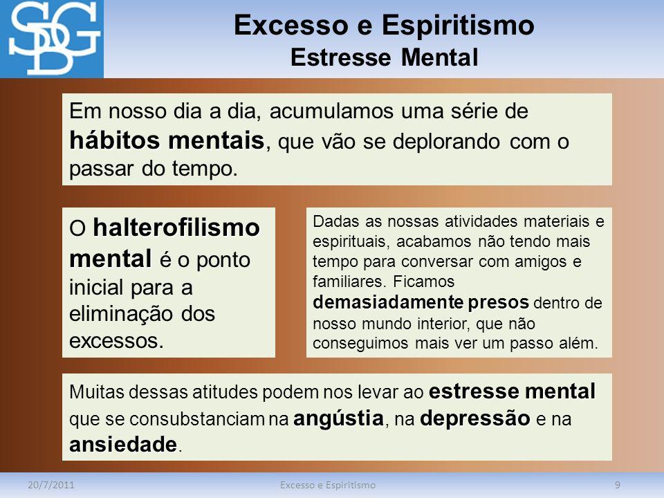 Excesso e Espiritismo Estresse Mental 20/7/2011Excesso e Espiritismo9 hábitos mentais Em nosso dia a dia, acumulamos uma série de hábitos mentais, que