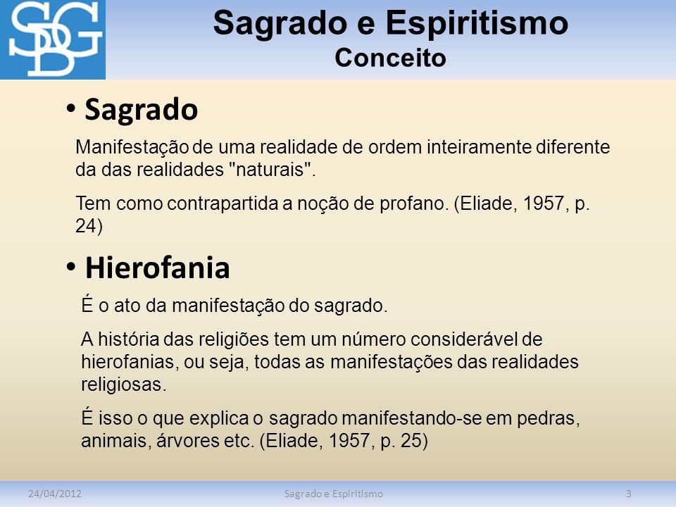 Sagrado e Espiritismo Conceito 24/04/2012Sagrado e Espiritismo3 Manifestação de uma realidade de ordem inteiramente diferente da das realidades