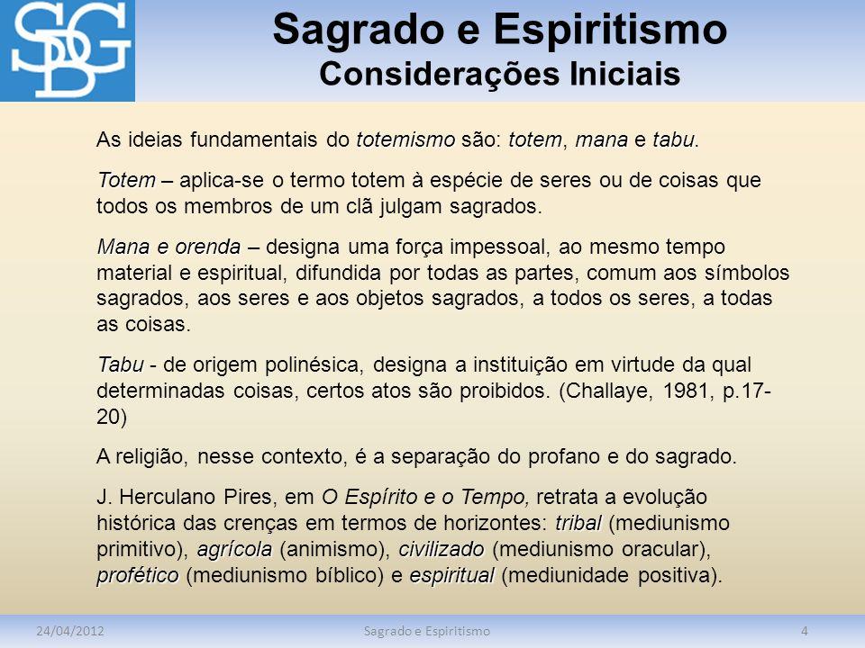 Sagrado e Espiritismo Considerações Iniciais 24/04/2012Sagrado e Espiritismo4 totemismototemmanatabu As ideias fundamentais do totemismo são: totem, mana e tabu.