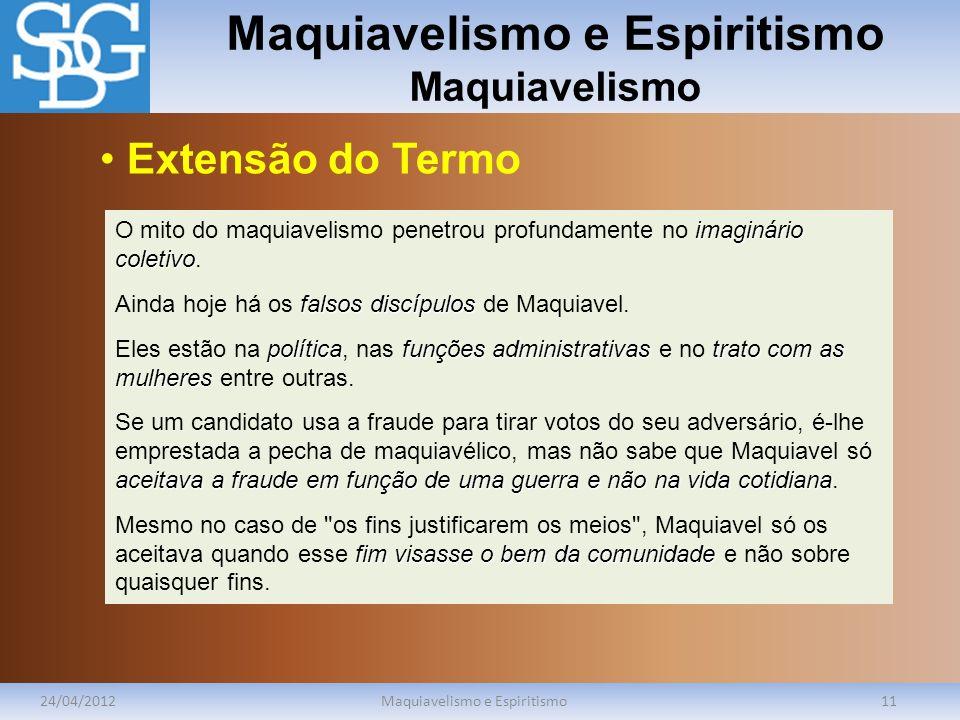 Maquiavelismo e Espiritismo Maquiavelismo 24/04/2012Maquiavelismo e Espiritismo11 imaginário coletivo O mito do maquiavelismo penetrou profundamente n