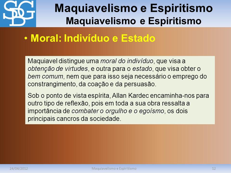 Maquiavelismo e Espiritismo 24/04/2012Maquiavelismo e Espiritismo12 moral do indivíduo obtenção de virtudesestado bem comum Maquiavel distingue uma mo
