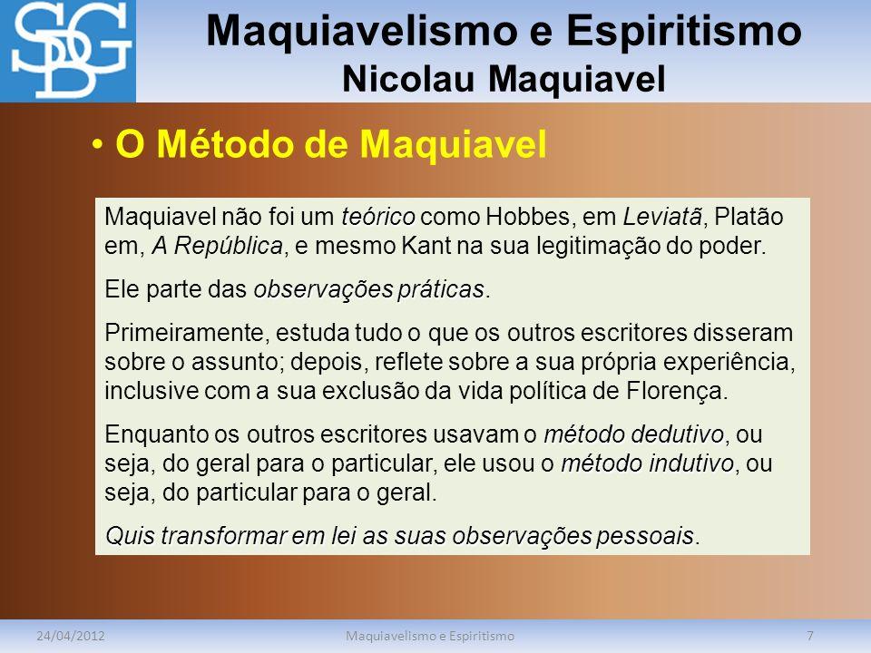 Maquiavelismo e Espiritismo Nicolau Maquiavel 24/04/2012Maquiavelismo e Espiritismo8 lógica da força Maquiavel procura entender a lógica da força.
