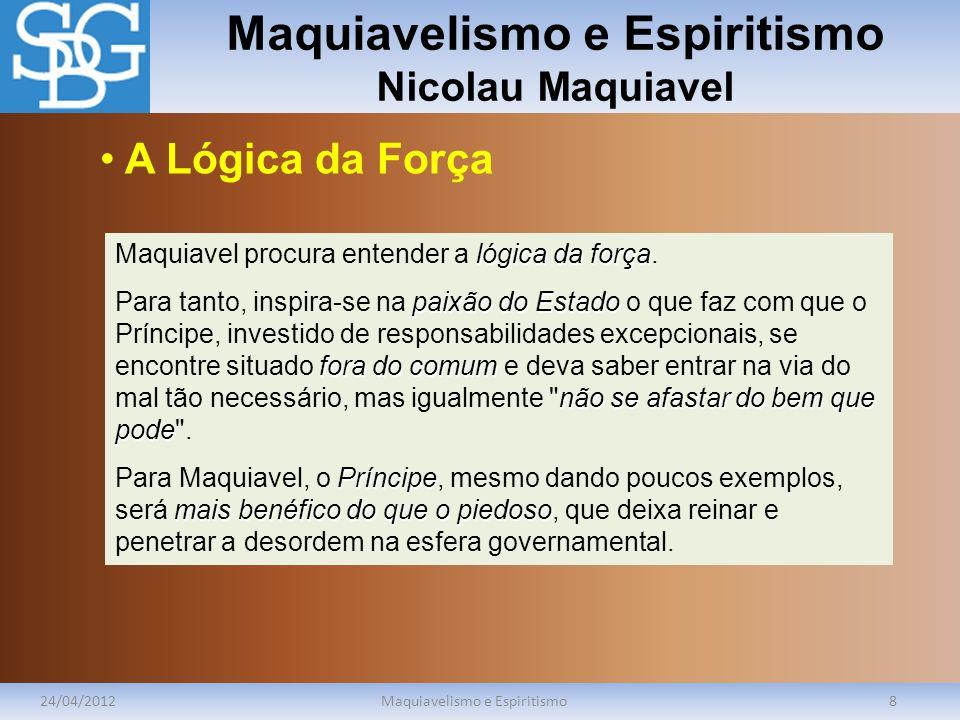 Maquiavelismo e Espiritismo Nicolau Maquiavel 24/04/2012Maquiavelismo e Espiritismo8 lógica da força Maquiavel procura entender a lógica da força. pai