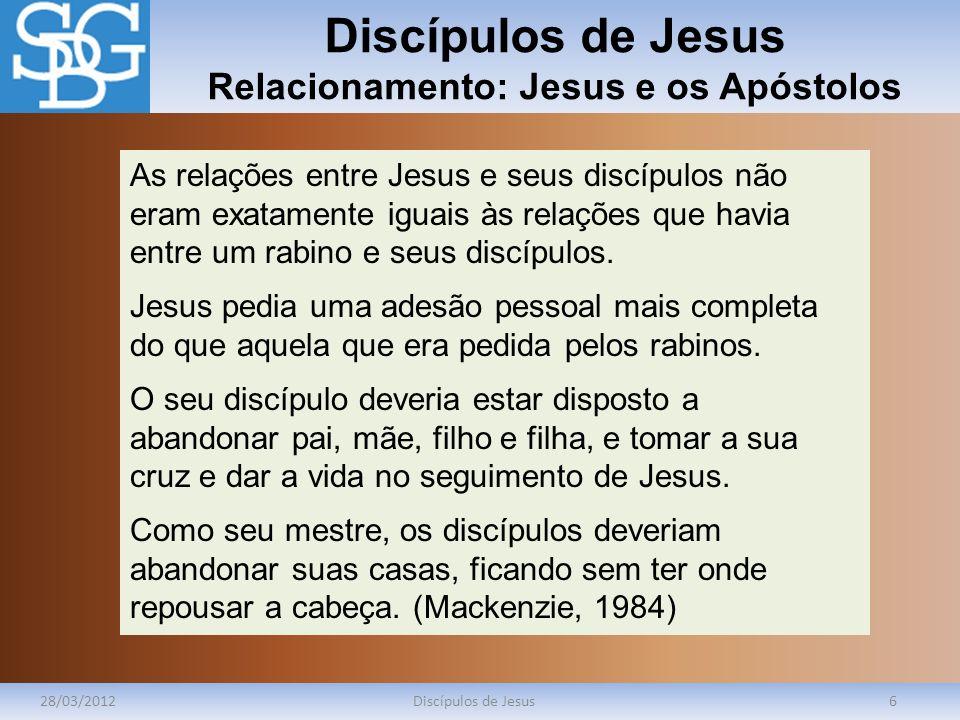Discípulos de Jesus Relacionamento: Jesus e os Apóstolos 28/03/2012Discípulos de Jesus6 As relações entre Jesus e seus discípulos não eram exatamente