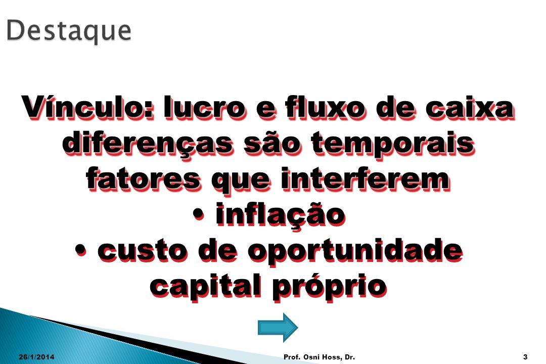 26/1/2014Prof. Osni Hoss, Dr.3 Vínculo: lucro e fluxo de caixa diferenças são temporais fatores que interferem inflação custo de oportunidade capital