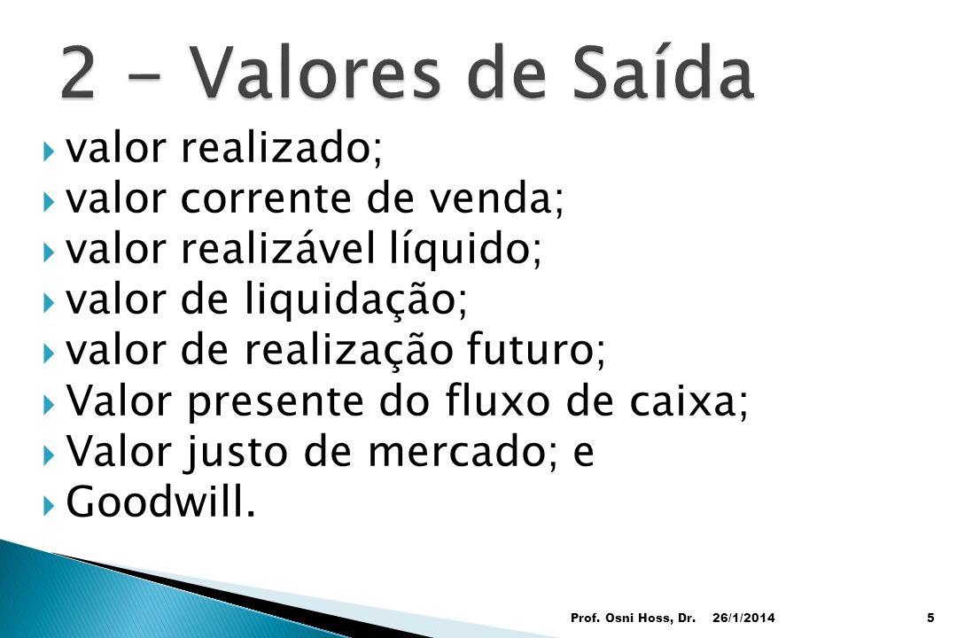 valor realizado; valor corrente de venda; valor realizável líquido; valor de liquidação; valor de realização futuro; Valor presente do fluxo de caixa;