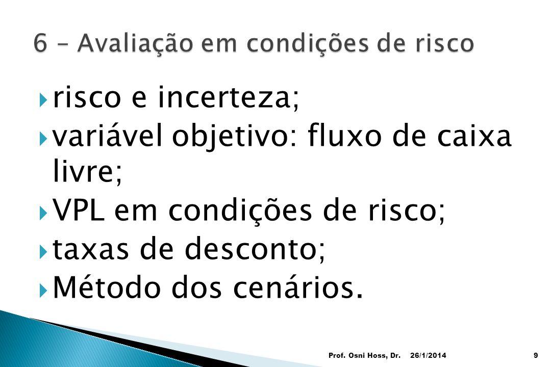 risco e incerteza; variável objetivo: fluxo de caixa livre; VPL em condições de risco; taxas de desconto; Método dos cenários. 26/1/2014Prof. Osni Hos