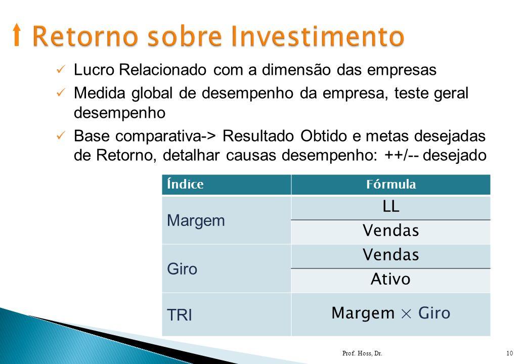 Prof. Hoss, Dr.10 Lucro Relacionado com a dimensão das empresas Medida global de desempenho da empresa, teste geral desempenho Base comparativa-> Resu
