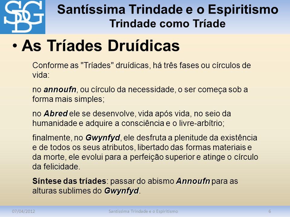 Santíssima Trindade e o Espiritismo Trindade como Tríade 07/04/2012Santíssima Trindade e o Espiritismo6 Conforme as