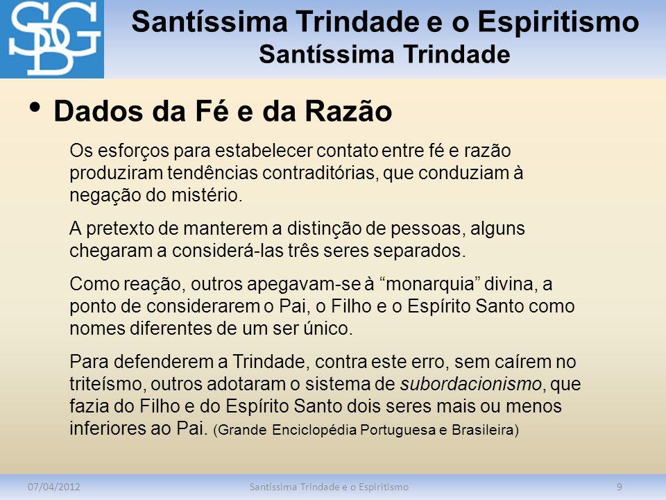 Santíssima Trindade e o Espiritismo Santíssima Trindade 07/04/2012Santíssima Trindade e o Espiritismo9 Os esforços para estabelecer contato entre fé e