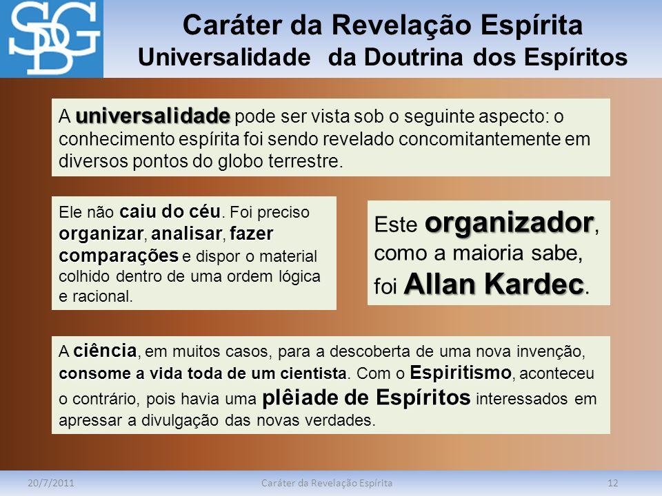Caráter da Revelação Espírita Universalidade da Doutrina dos Espíritos 20/7/2011Caráter da Revelação Espírita12 universalidade A universalidade pode s