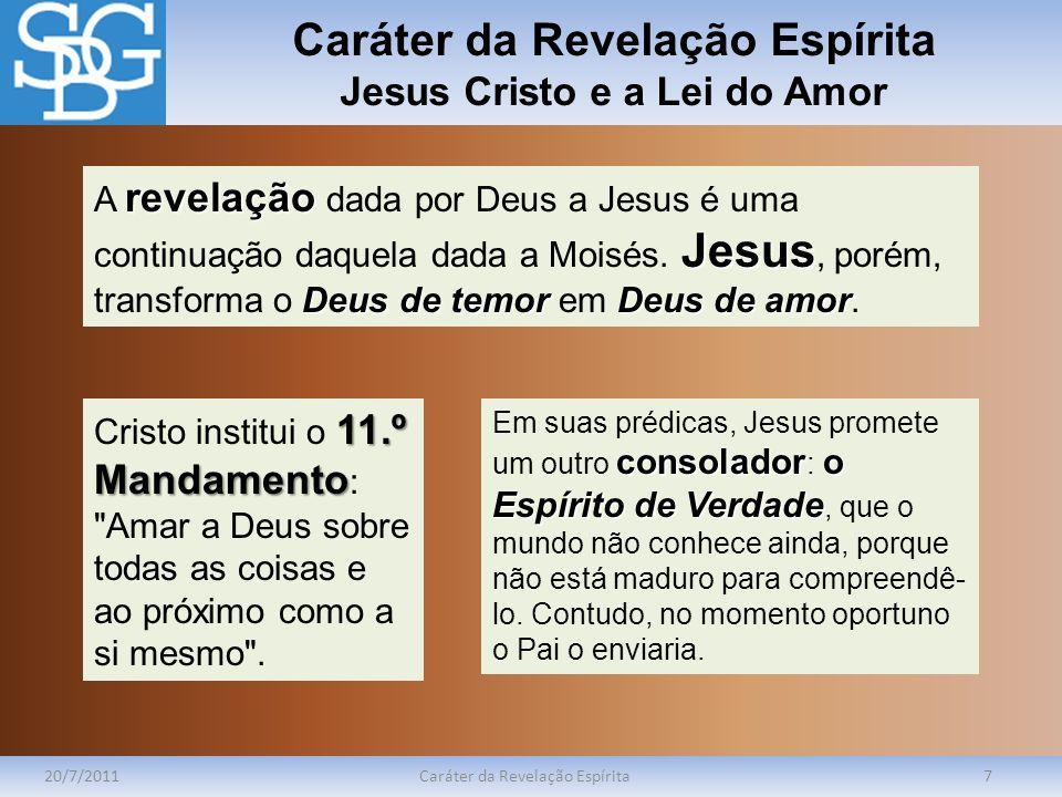 Caráter da Revelação Espírita Jesus Cristo e a Lei do Amor 20/7/2011Caráter da Revelação Espírita7 revelação Jesus Deus de temorDeus de amor A revelaç
