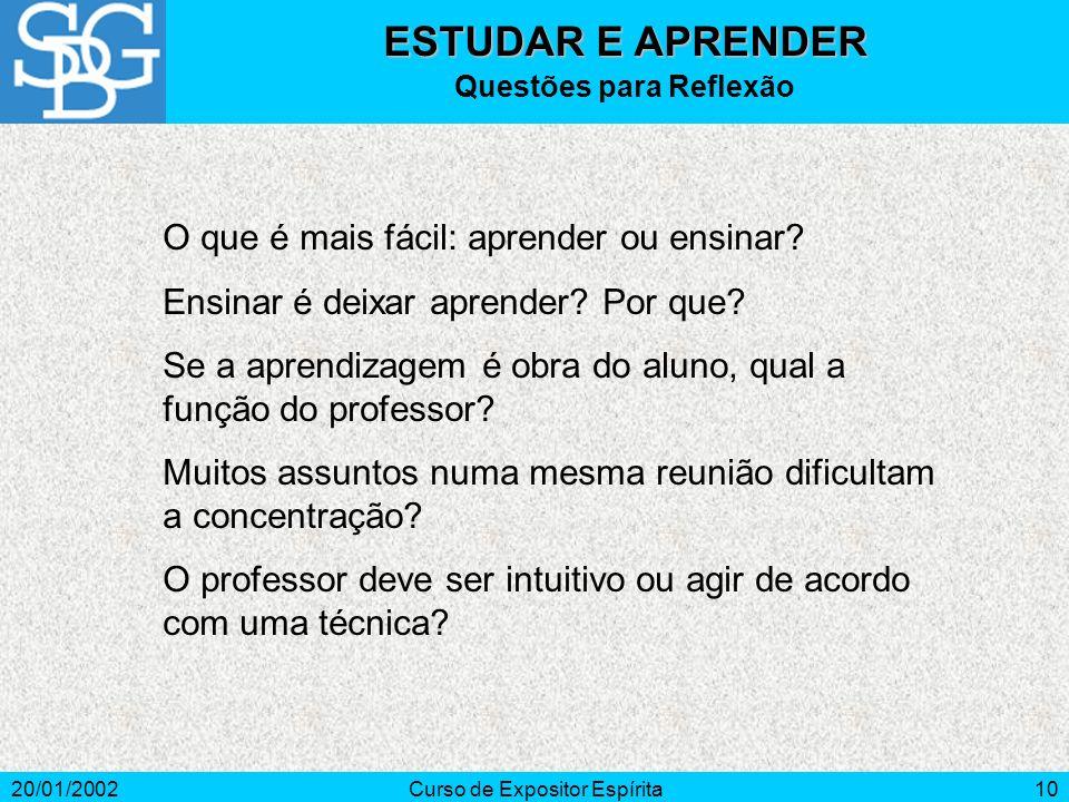 20/01/2002Curso de Expositor Espírita10 O que é mais fácil: aprender ou ensinar.