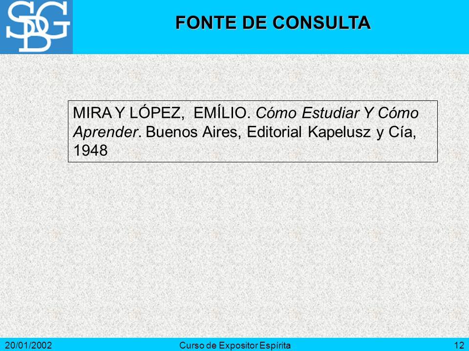 20/01/2002Curso de Expositor Espírita12 MIRA Y LÓPEZ, EMÍLIO.