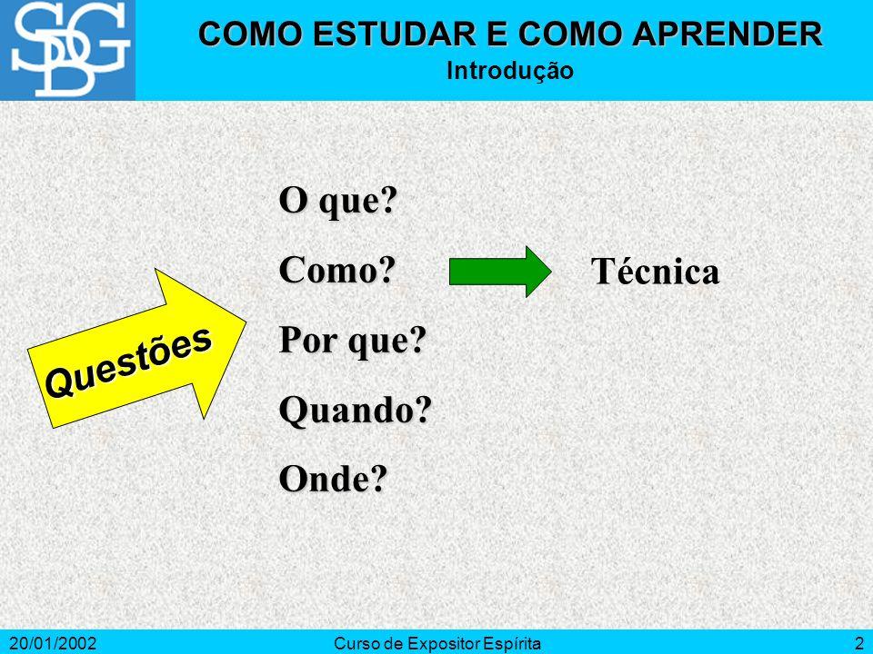 20/01/2002Curso de Expositor Espírita2 O que. Como.