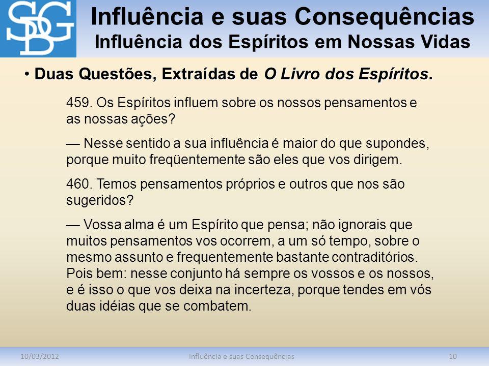 Influência e suas Consequências Influência dos Espíritos em Nossas Vidas 10/03/2012Influência e suas Consequências10 459. Os Espíritos influem sobre o